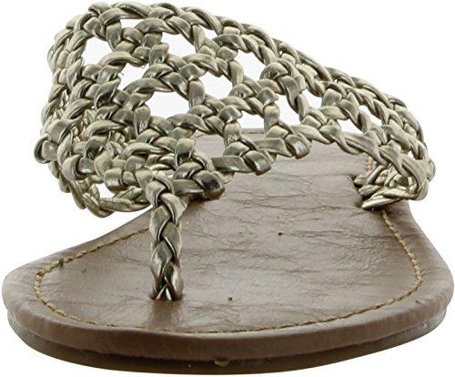 Ciudad Clasificada Mujer Delux Sandals Gold Metallic Pu