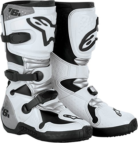 Alpinestars Tech 6S Youth Boys Off-Road Motorcycle Boots - White/Silver / Size 4 (Kids Dirt Bike Boots Size 1)