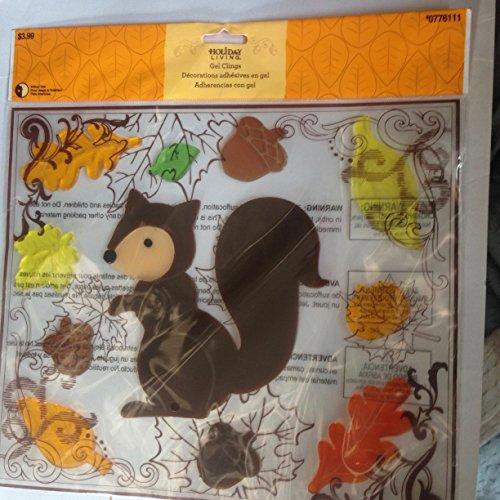Squirrel & fall leafs and acorn window (Acorn Gel)