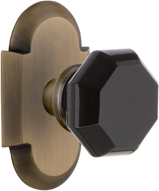 2.75 Nostalgic Warehouse 724637 Meadows Plate Privacy Waldorf Black Door Knob in Timeless Bronze