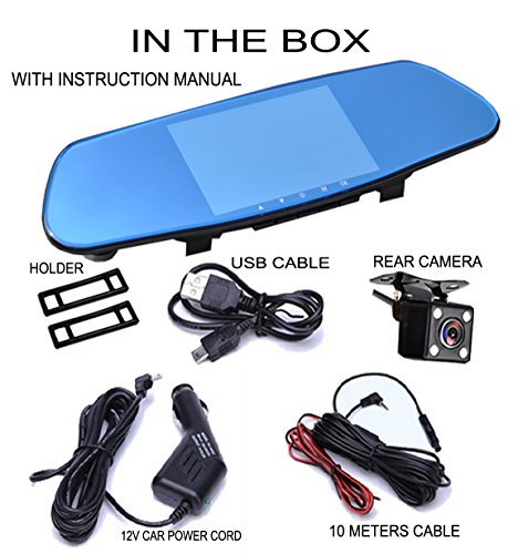 ICBEAMER 5'' Monitor 4k Ultra HD High Def 1296P Front Back Car Camera Blue Tint Interior 300mm Rearview Mirror Mini SD Slot by ICBEAMER (Image #7)