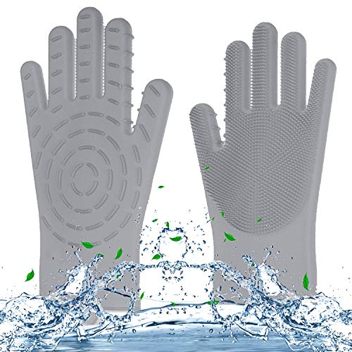 - Kanteya Magic Silicone Gloves Dishwashing Scrubber Gloves for Bathroom Kitchen Housework Cleaning Insulation Tools (Grey)