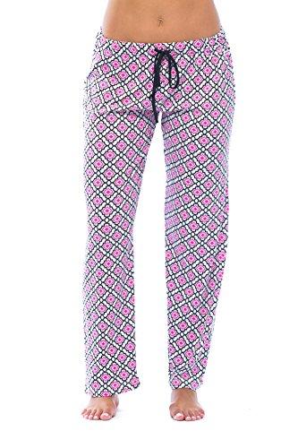 6333-10091-2X Just Love Women Pajama Pants - PJs - Sleepwear; Trellis Diamond Fuchsia / Black