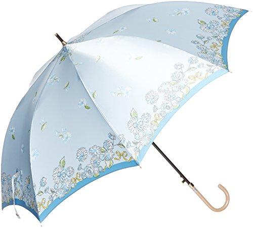 (문 배트) MOONBAT 랑방 온 블루 장우산(내풍우산) 점프식 새틴 rotary 프린트 보더 꽃무늬