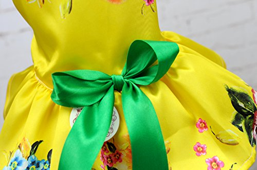 Dog Dresses For Small Dogs,Lillypet® Cute Puppy Pet Dog Cat Princess Dress Small Dog Floral Dress Clothes (M, Yellow)