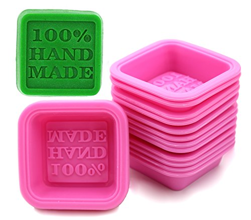 FIVOENDAR (20-Pack) DIY Handmade Soap Molds, Baking Molds, Cupcake Liners - 100% Handmade Square Silicone - - Microwave, Oven, Refrigerator, Freezer and Dishwasher Safe for Homemade Craft (Square)