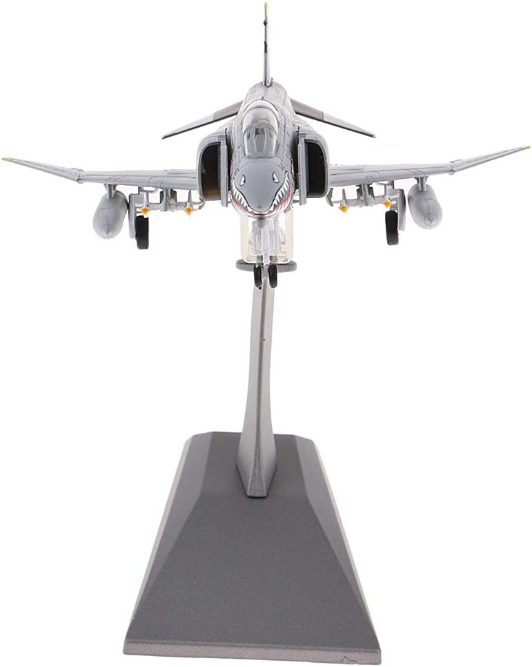 Prettyia F-4 Phantom Fighter 1/100 Scale Military Aircraft - Diecast Combat Airplane Display Model on Stand - Home, Bookshelf, Desktop Decorations