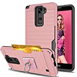 LG Stylo 2 Case,LG Stylus 2/Stylo 2V/Stylo 2 Plus/Stylus 2 Plus Case With Phone Stand,Ymhxcy [Credit Card Slots Holder][Brushed Texture] Dual Layer Shockproof Protective Cover For LS775-LCK Rose Gold