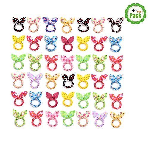 - STS TS Cute Girls Rabbit Ear Hair Tie Bands Ropes Ponytail Holder (40PCS Rabbit Ear)