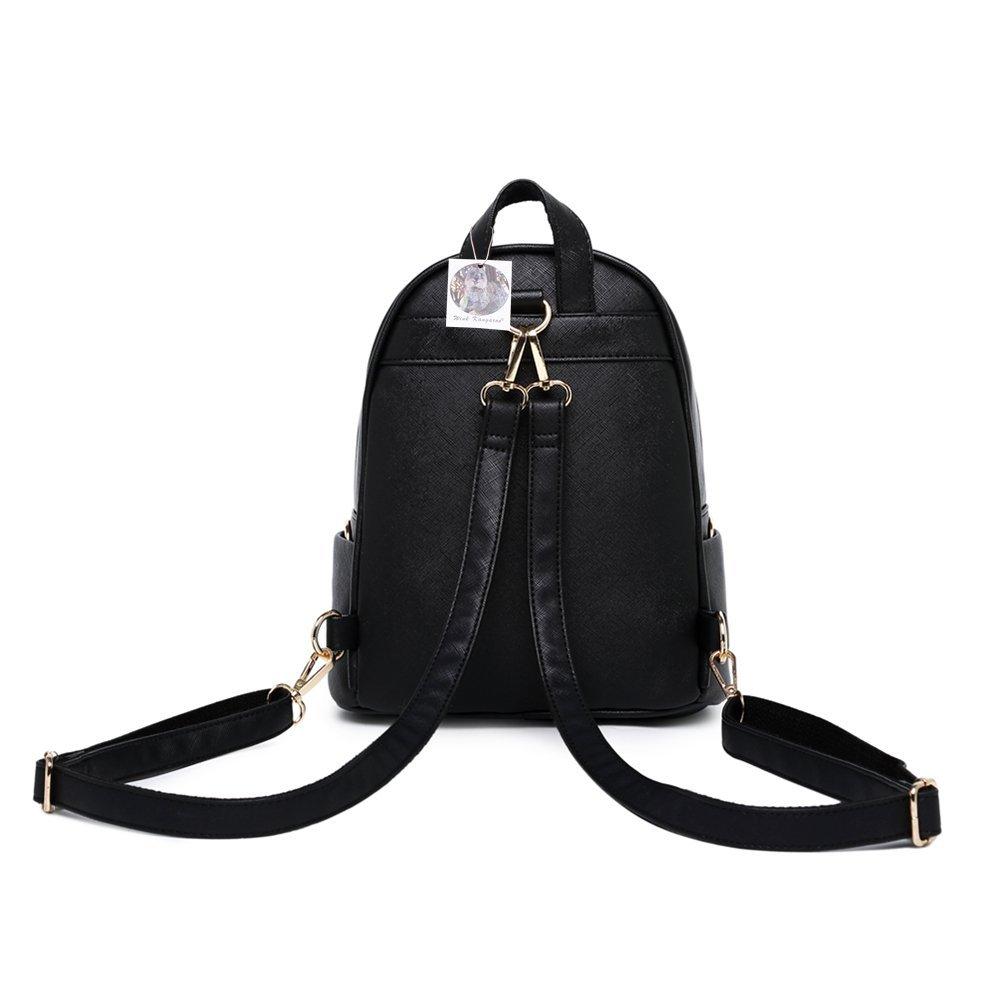 WINK KANGAROO Fashion Shoulder Bag Rucksack PU Leather Women Girls Ladies Backpack Travel bag (Black Small Size) by WINK KANGAROO (Image #3)