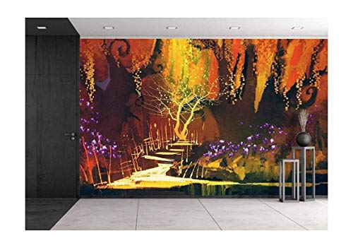 wall26 - Illustration - Abstract Colorful Landscape,Fantasy Forest,Illustration Painting - Removable Wall Mural | Self-Adhesive Large Wallpaper - 100x144 inches