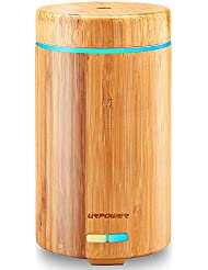 URPOWER Real Bamboo Essential Oil Diffuser Ultrasonic Aromotherapy Diffusers Cool Mist Aroma Diffuser with Adjustable Mist Modes, Waterless Auto Shut-off, 7 Color LED Lights for Home Office