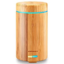 Real Bamboo Essential Oil Diffuser Ultrasonic Aromotherapy Diffusers Cool Mist Aroma Diffuser with Adjustable Mist Modes, Waterless Auto Shut-off, 7 Color LED Lights for Home Office