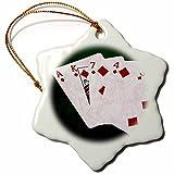 3dRose Alexis Photo-Art - Poker Hands - Poker Hands Flush Diamonds - 3 inch Snowflake Porcelain Ornament (orn_270314_1)