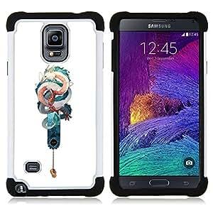 Jordan Colourful Shop - Snake Dragon Teal White Chinese Luck For Samsung Galaxy Note 4 SM-N910 N910 - < Llevar protecci????n de goma del cuero cromado mate PC spigen > -