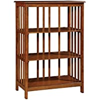 Furniture of America Lester 3 Shelf Bookcase in Oak