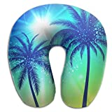 SARA NELL Memory Foam Neck Pillow Hawaii Palm Tree U-Shape Travel Pillow Ergonomic Contoured Design Washable Cover For Airplane Train Car Bus Office