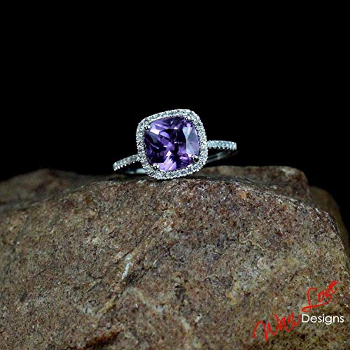 Alexandrite Color Change & White Sapphire Cushion Halo Engagement Ring