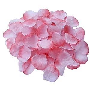 DALAMODA 1000pcs Silk Coral Rose Petals Artificial Flower Wedding Party Aisle Decor Tabl Scatters Confett (Coral #1) 23
