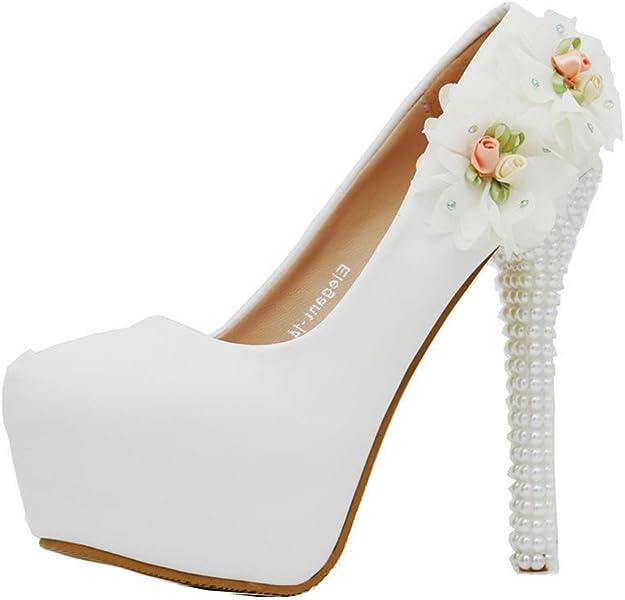8a254a117d87 Wedding Pumps Bridal High Heels Evening Party Dress Heel Pump(White 36 5 B
