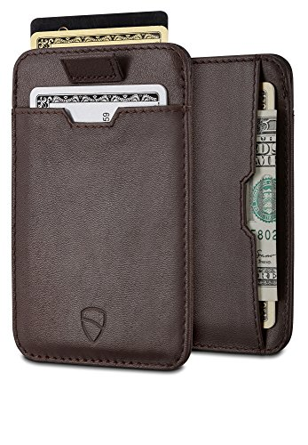 Chelsea Slim Card Sleeve Wallet with RFID Protection by Vaultskin - Top Quality Italian Leather - Ultra Thin Card Holder Design For Up To 10 Cards (Brown) ()