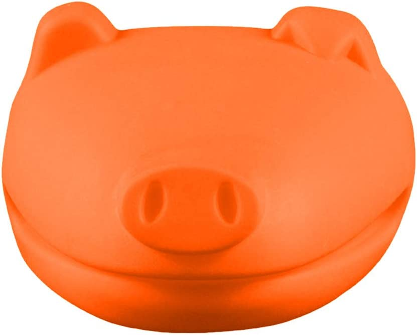 J&HO 2PC Animal Oven Mitt Pig Shaped Silicone Heat Resistant Cooking Gloves Mini Microwave Pinch Potholder (Orange)