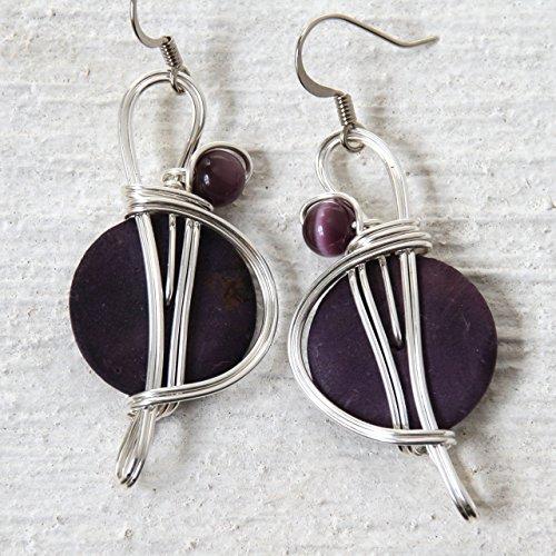 Big Purple Dangle Earrings - Handmade Wire Wrapped Jewelry (Optic Wrapped Fiber)