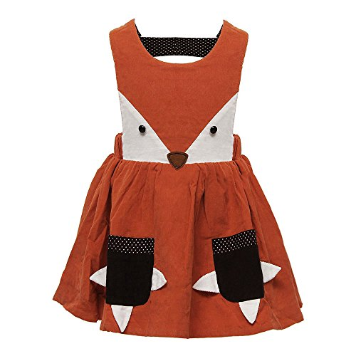 Kids Girls Fox Jumper Dress Ruffles Spring Fall Corduroy Cute Cartoon Dress (4T) Soft Corduroy Jumper