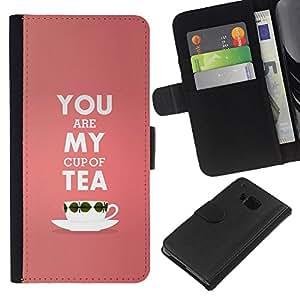 WINCASE Cuadro Funda Voltear Cuero Ranura Tarjetas TPU Carcasas Protectora Cover Case Para HTC One M9 - mi taza de té de melocotón pink love valentines texto