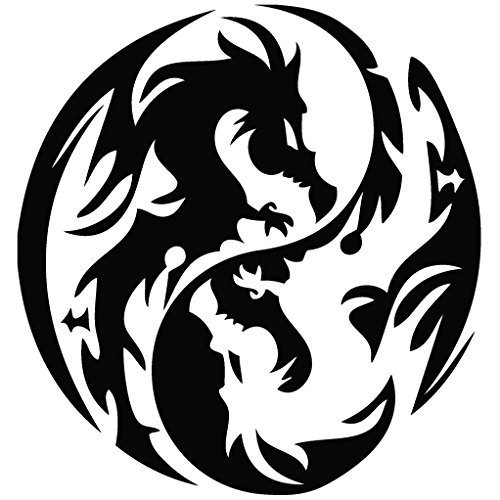 Dragon Yin Yang - Tribal Decal Vinyl Removable Decorative Sticker for Wall, Car, Ipad, Macbook, Laptop, Bike, Helmet, Small Appliances, Music Instruments, Motorcycle, Suitcase [a]