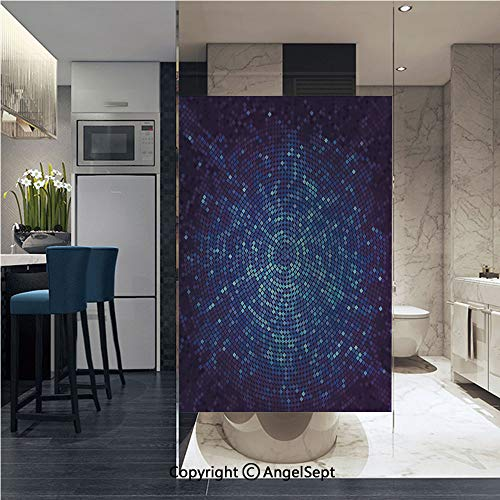 Window Door Sticker Glass Film,Digital Geometric Mosaic Perspective Depth Pixel Artwork Graphic Design Anti UV Heat Control Privacy Kitchen Curtains for Glass, 22.8 x 35.4 inch,Light Blue Navy Blue ()