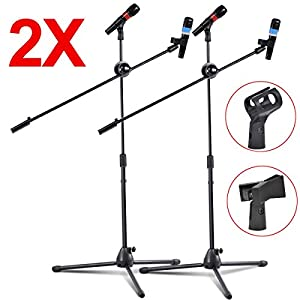 2 Pack Mic Dual Microphone Stand Boom Arm Clip Holder Stage Studio Tripod