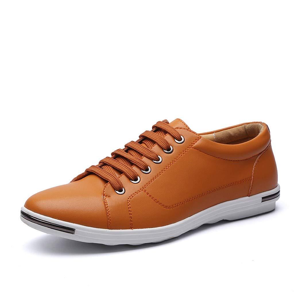 Amlaiworld Zapatos De Cuero De Tallas Grandes Para Hombres Moda Zapatos Planos De Gran Tamano Con Cordones Para Hombres Mocasines Casuales Con Punta Redonda Zapatos De Cuero Bolsas Para Botellas Bolsas Y