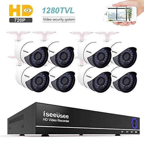 ISEEUSEE 8 Channel HD DVR Video Recording System With HDMI Output 8 x 720P 1200TVL Indoor & Outdoor Night Vision Cameras Free Pro APP Home Security Surveillance Kits No Hard Drive by ISEEUSEE