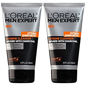 L'Oreal Paris Skin Care Men's Expert Hydra Energetic Charcoal Cream Cleanser, 2 Count