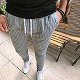 Spbamboo Mens Casual Pants Sport Jogging Striped Slim Pencil Drawstring Trousers