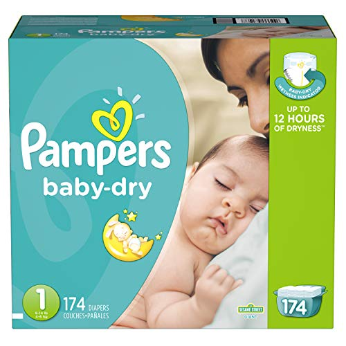 Diapers Size 1, 174 Count - Pampers Baby Dry Disposable Baby Diapers, Giant