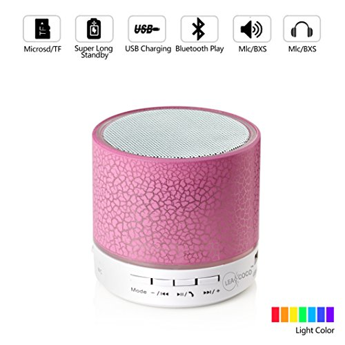 Leacoco Mini Wireless Portable Bluetooth Speaker With LED and Build-in Mic Support AUX TF for iPhone iPod and Android System Equipment Etc. (Pink) (CTX-liewenyinxiang-fen)