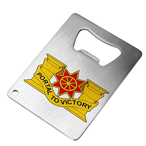 Bottle Opener - Stainless Steel - Fits in wallet - US Army 10th Transportation Battalion, DU ()
