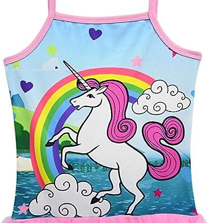 Monissy Verano Chicas Secado Rapido Swimwear Personalidad Unicornio Poliester Falda-Pantalón Bañador de Una Pieza Playa Nadar Piscina Regalo Vacaciones 3-10años 100-140 Trajes de Baño