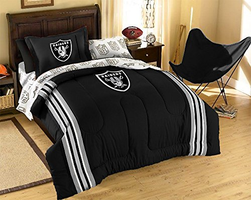 NCAA/NFL Twin Size Applique 5 pc Comforter Set-Many different Teams! (Oakland Raiders, Twin Size) Raiders Bed Comforter