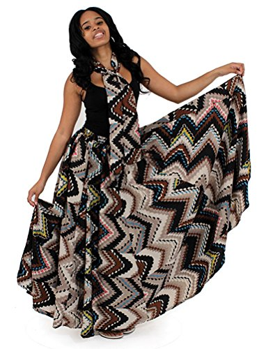 African Geometric Print Flared Skirt with Matching Scarf by African Inspired Fashions
