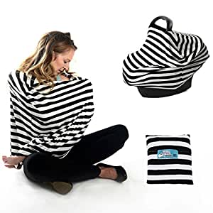 Baby car seat Cover Canopy and Nursing Cover Multi-Use Stretchy keep your baby safe 360 Coverage , BONUS Pillow case and eBook , Universal Fit Best Shower Gift Black And White