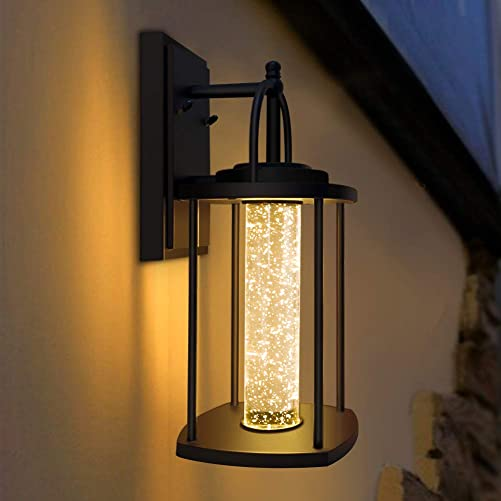 PARTPHONER Integrated LED Outdoor Light Fixtures Wall Mount – Exterior Wall Sconce Lighting with Crystal Bubble Glass, Waterproof Porch Light Wall Lantern 10W, 3000K Warm White for Front Door, Patio