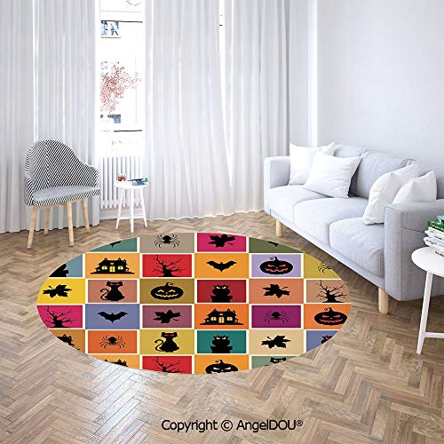 (AngelDOU Non-Slip Washable Round Area Rug Carpet Bats Cats Owls Haunted Houses in Squraes Halloween Themed Darwing Art Decorative for Kids Children Room Play)