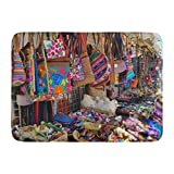 Aabagael Bath Mat Colorful Mexican Southwestern Native American for Sale on Tables and Tall Racks Outdoor Shopping Venue Bathroom Decor Rug 16'' x 24''