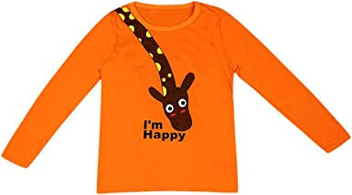K-Youth de 1 a 7 años Ropa Bebe Niño Otoño Invierno Patrón de Jirafa Camiseta Manga Larga Bebe Blusa de Niños Ropa para Niña Primavera Chandal Bebes ...