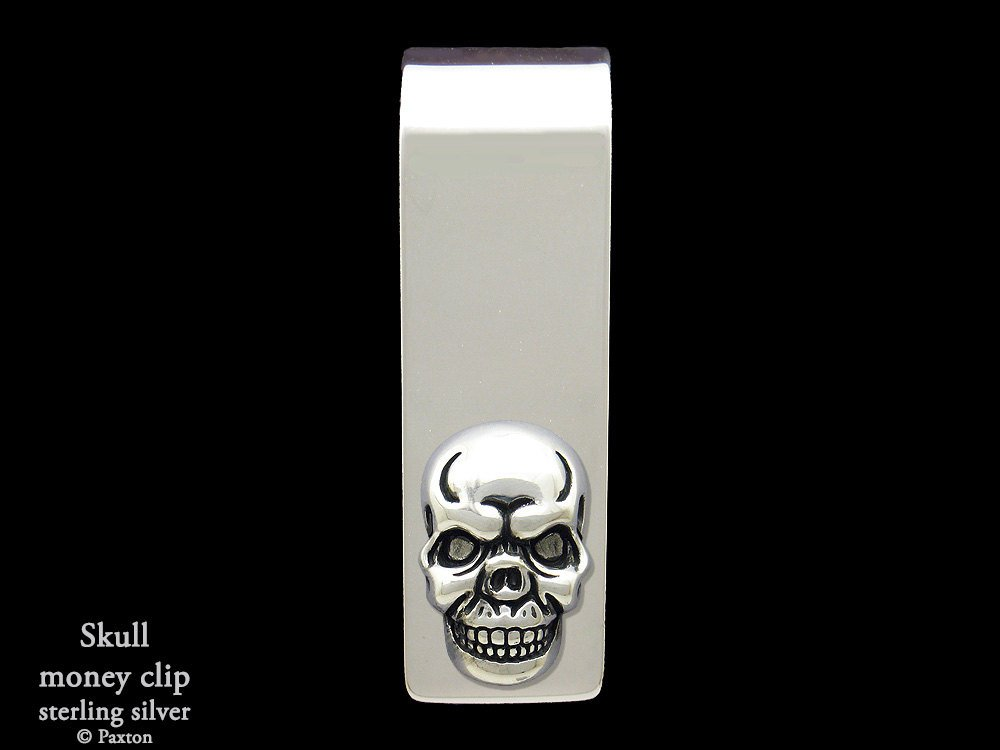 Skull Money Clip in Solid Sterling Silver Hand Carved, Cast & Fabricated by Paxton
