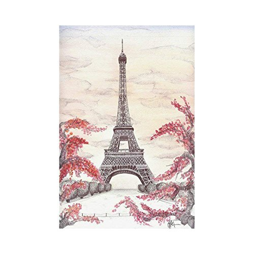 Pingshoes French Eiffel Tower Polyester Garden Flag House Banner 12 x 18 inch, Autumn Branches City Landmark Decorative Flag for Party Yard Home Outdoor Decor