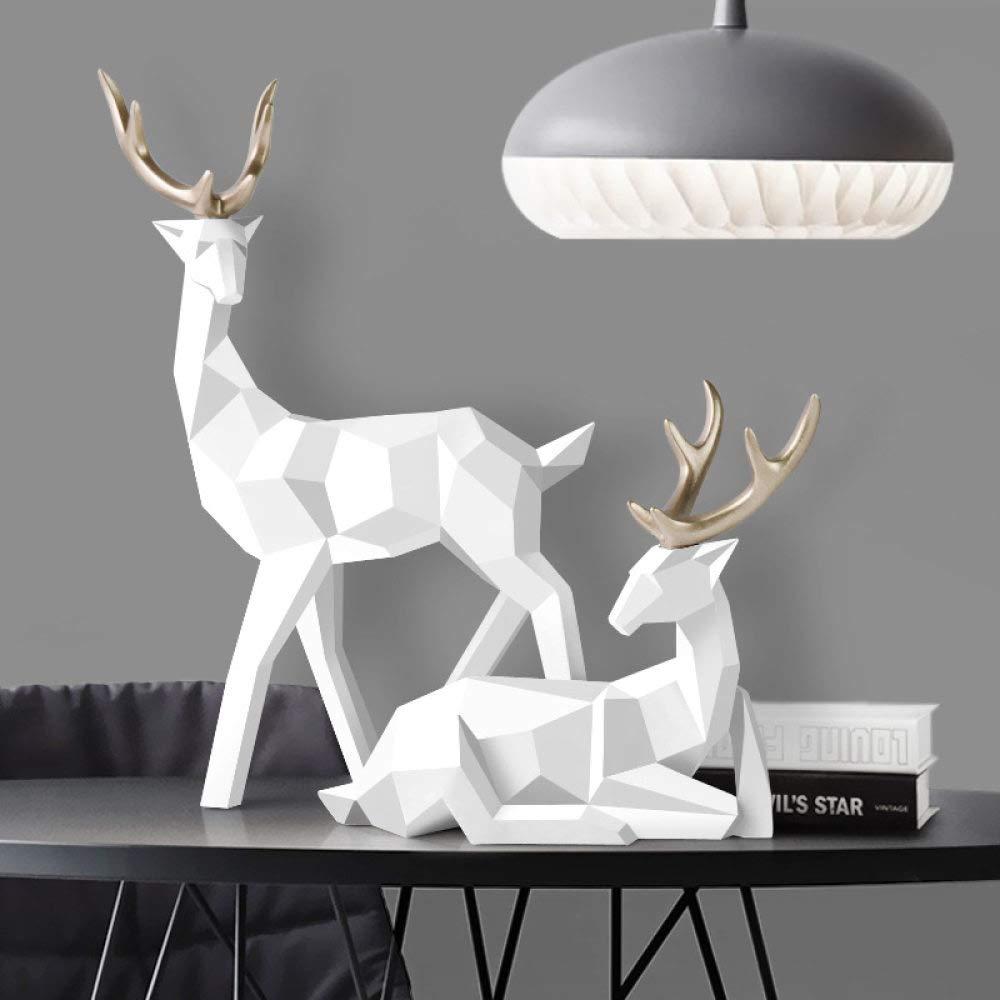 zzzddd Scultura da Tavolo,White Deer Statua Decorazione Nordica Home Decor Statue Resina Geometriche Cervi Figura//Figurine//Scultura Moderna Decorazione Abstract